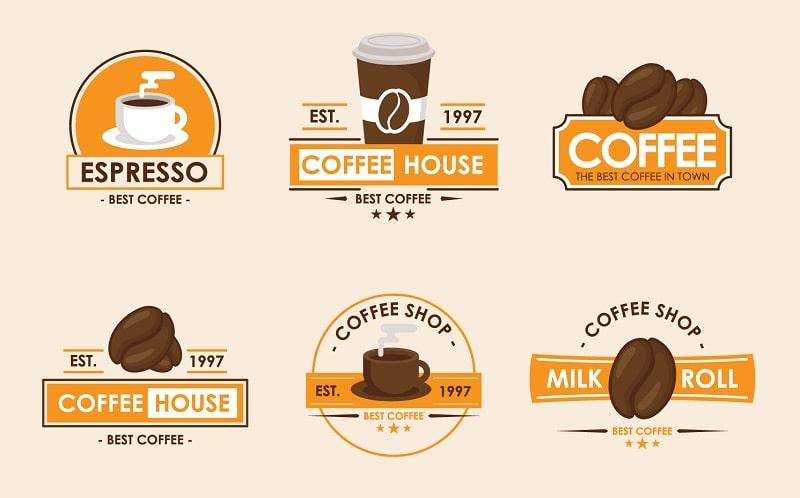 Logo cà phê với màu nâu chủ đạo